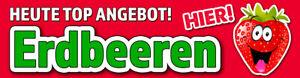 Banner oder Aufkleber ERDBEEREN ANGEBOT PVC-Banner Spanntransparent Sticker RHG