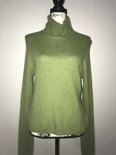 Geneva 2-Ply 100% Cashmere Sweater Heather Green Cowl Neck Long Sleeve Size M