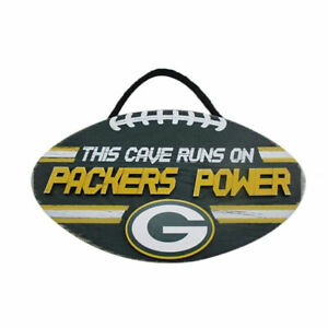 """NFL """"This Cave Runs On Packers Power"""" Wood Football Sign"""