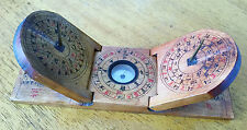 Antique Chinese Feng Shui Double Sundial Compass Luo Pan carved in wood