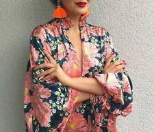 ZARA VELVET FLORAL PRINTED DRESS KIMONO PUFFY SLEEVES SAMTKLEID KLEID BLUMEN S M