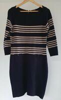 David Lawrence Womens Size L Black Stretch Striped Cotton Knit Long sleeve Dress
