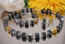 3er Set Collier Ohrringe Armband Würfel Lava schwarz + Hämatit in gold silber