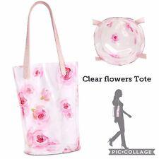 Clear Plastic Tote Bag Women Transparent Pink Flower