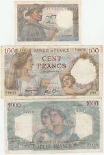 France lot 3 billets 10 + 100 + 1000 F mineur Sully 1940 /  Set 3 notes WW II
