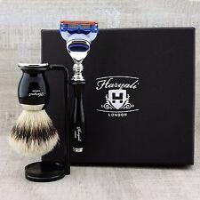 5 Piece Shaving Set |Gillette Fusion & SilverTip Badger Brush| Top Mens Gift Kit
