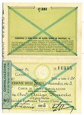 TESSERA - Carta di Circolazione FERROVIE DELLO STATO 1923