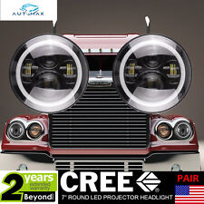 """7"""" ROUND LED Headlights(2x)Black Halo Angle Eyes for Freightliner Century RH&LH"""