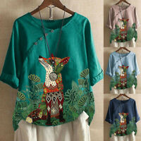 Fashion Womens Loose Cotton And Linen Animal Print O-Neck T-Shirt Blouse Tops