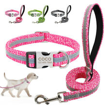 Reflective Dog Personalised Nylon Collar and Leash set for Small to Large Dogs