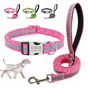 Reflektierend Hundehalsband und Leine Set Nylon Personalisiert Graviert mit Name