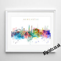 NEWCASTLE SKYLINE MAP Print Poster Watercolour Framed Canvas Wall Art Gift CITY