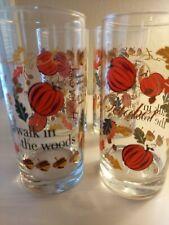 4 Pcs Tall Clear Glasses Fall Season Design 16 Oz. Vintage
