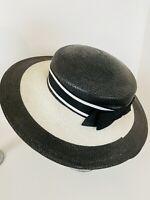 Vintage Luci Ames Cartwheel Style Black & White Striped Straw Brim Derby Hat OMG