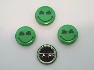 48 SHAMROCK SMILEY FACE PINS St Patricks Day mini buttons IRISH smile March