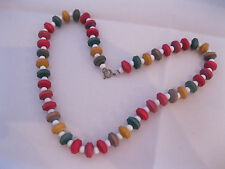 Vintage Candy Colorful Wood Bead Necklace