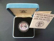 1985 ROYAL MINT SILVER PROOF £1 COIN HOUSED IN ROYAL MINT CASE WITH LEAFLET..