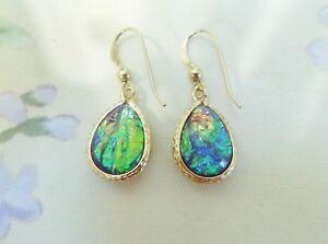 Lab Created Blue/Green Rainbow Opal Teardrop Earrings in 14K YGF