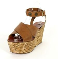 LANVIN $855 NIB Brown Leather Python Embossed Cork Wedges 40