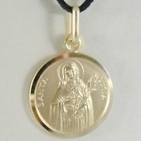 SOLID 18K YELLOW GOLD HOLY ST SAINT SANTA LUCIA LUCY ROUND MEDAL MADE IN ITALY