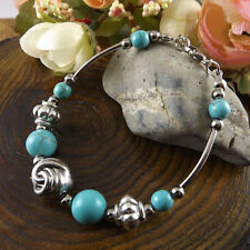 NEW Free shipping Jewelry Tibet silver jade turquoise bead DIY bracelet S268