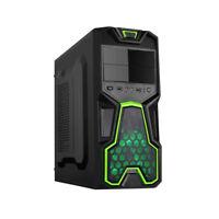 NEW! Dynamode GC356 Lockstock Series Gaming M-Atx Midi Pc Case Black/Green GC356