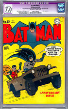 BATMAN #12 CGC 7.0 BOB KANE & JERRY ROBINSON COVER & ART JOKER APP RESTORED 1942