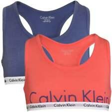 Calvin Klein GIRLS 2 Pack Modern Cotton Bralette, Calypso Coral / Coastal Fjord