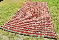 Floral Embroidered Hand Knotted Oushak Kilim Rug Vintage Turkish Carpet 6x11 ft