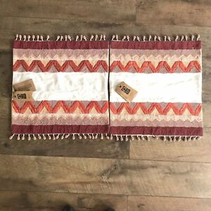 2 West Elm Zigzag Border Pillow Covers Beaded Handcrafted Cream Orange New