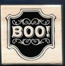 BOO PLAQUE BORDER Paisley Halloween Scary NEW Craft Smart 2015 Wood RUBBER STAMP
