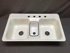 Vtg Cast Iron Triple Basin NOS White Porcelain Drop In Kitchen Sink Old 79-20E