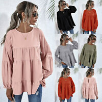 ❤️ Women Long Sleeve Tops Blouse Ladies Round Neck Loose Ruffle T Shirt Pullover
