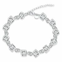 925 Silver Plt Cube Bracelet / Bangle / Anklet Clear & Multi Crystal Hollow A
