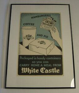 Vintage White Castle Restaurant Art Poster Framed Mounted Hamburger Coffee Pie
