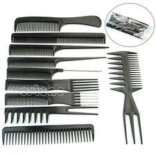 10Pcs Black Pro Salon Hair Styling Hairdressing Plastic Barbers Brush Combs Set