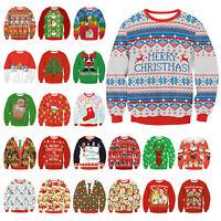 CHRISTMAS Men Women Ugly Sweater Santa Sweatshirt XMAS Warm Tops Blouse Outfit