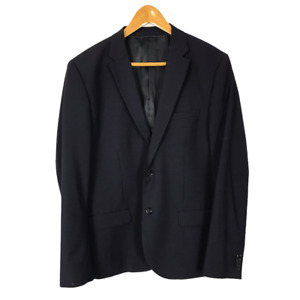 H&M Size 46R Eur 56 Navy Blue Wool Blend Two-Button Single Breasted Blazer NEW