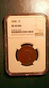 1848 BRAIDED HAIR Large Cent NGC XF45 BN CIRCULATED 1C Penny Coin PRICED TO SELL
