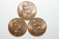 1964, Large Penny Great Britain Lot of 3 UNC / or High Grade & Value Coins Gp-B