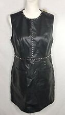 Forever 21 Shift Dress Black Faux Leather Studs Size Large