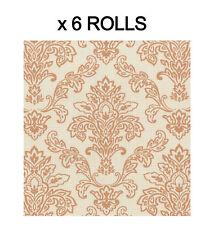Orange Damask Wallpaper Modern Plaid Luxury Paste The Paper Washable 6 Rolls