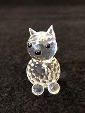 Vintage Swarovski Crystal Kitty Cat w/ Silver Tail Figurine & Box
