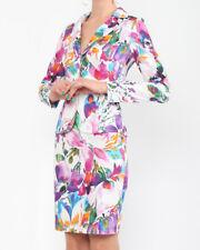 Damen Leicht taillierter Blazer mit floralem Muster Gr.40/M in rot, weiß,lila