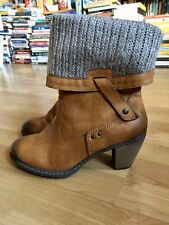 RIEKER TAN Z1571-23 ANKLE BOOT WITH KNIT CUFFS SIZE 40/ UK 6.5 - 7