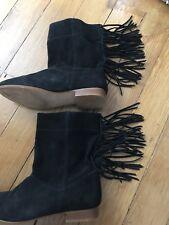 New Look botas flecos de gamuza