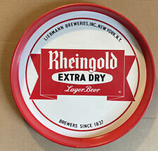 New listing Vtg Rheingold Extra Dry Lager Beer Double Sided Metal Tray ~ Liebmann Breweries