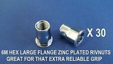 30 X HEX STEEL ZINC PLATED RIVNUTS M6 NUTSERT LARGE FLANGE NUTSERTS RIVNUT