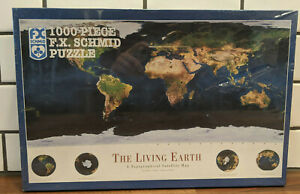 FX Schmid 1000 Piece Puzzle - Living Earth Topographical Satellite Map, NEW!