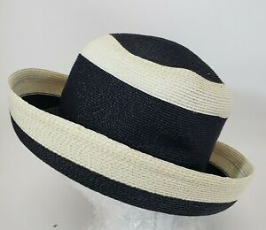 Frank Olive Straw Black Off-White Breton Hat Braid Church Up-Turned